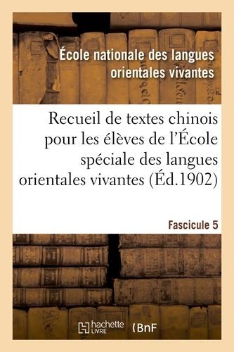 Hachette BNF - Recueil de textes chinois à l'usage des élèves de l'École spéciale des langues orientales vivantes.