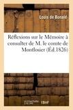 Louis de Bonald - Réflexions sur le Mémoire à consulter de M. le comte de Montlosier.
