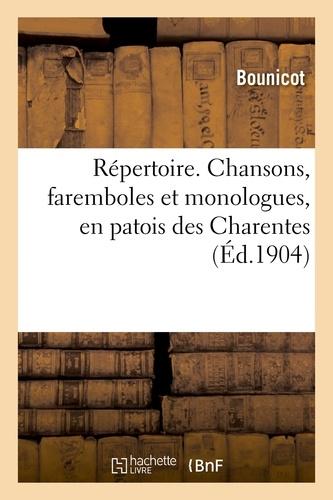 Hachette BNF - Répertoire. Chansons, faremboles et monologues, en patois des Charentes.