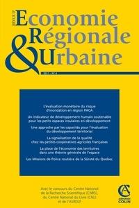 André Torre - Revue d'économie régionale et urbaine N° 4, 2011 : L'Evaluation monétaire des dommages du risque naturel d'inondation en région PACA - Une analyse à l'aide d'un modèle d'équilibre général calculable.