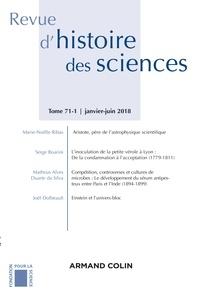 Armand Colin - Revue d'histoire des sciences N° 1/2018 : Sciences, pouvoirs et culture matérielle.