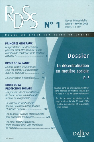 Robert Lafore et Philippe Ligneau - Revue de droit sanitaire et social N° 1, Janvier-Févrie : La décentralisation en matière sociale.