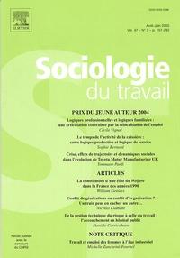 Sophie Bernard et William Genieys - Sociologie du travail Volume 47 N° 2, Avri : Prix du jeune auteur 2004.