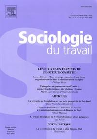 Philippe Bezes et Marie-Laure Djelic - Sociologie du travail Volume 47 N° 4, Octo : Les nouveaux formats de l'institution (Suite).