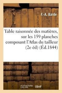 Barde - Table raisonnée des matières contenues sur les 159 planches composant l'Atlas de la science.
