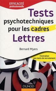 Bernard Myers - Tests psychotechniques pour les cadres : Lettres.
