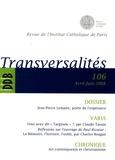 Geneviève Médevielle et Patrick Piguet - Transversalités N° 106, Avril-Juin 2 : Jean-Pierre Lemaire, poète de l'espérance.