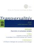 Laurent Villemin - Transversalités N° 111, Juillet-Sept : Pauvretés et exclusions sociales.