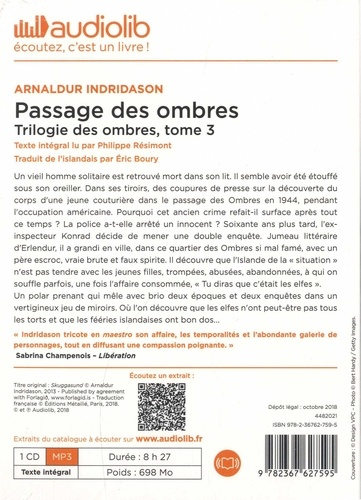 Trilogie des ombres Tome 3 Passage des ombres -  avec 1 CD audio MP3