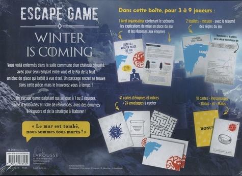 """Winter is coming. Avec 1 livret organisateur, 2 feuillets """"mission"""", 41 cartes énigmes, 24 enveloppes et 10 cartes personnages bonus et malus"""