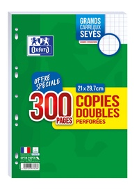 HAMELIN - Copies doubles perforées grands carreaux séyès - A4 21x29,7 cm - 200 pages + 100 gratuites