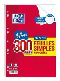 HAMELIN - Feuilles mobiles perforées grands carreaux séyès - A4 21x29,7 cm - 200 pages + 100 gratuites