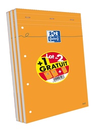 HAMELIN - Lot de 2 blocs feuilles perforées grands carreaux séyès - A4 21x29,7cm + 1 gratuit