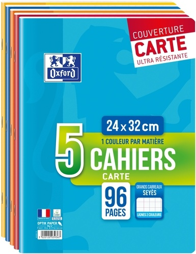 HAMELIN - Lot de 3 cahiers piqués + 2 gratuits grands carreaux séyès - 24 x 32 cm - 96 pages