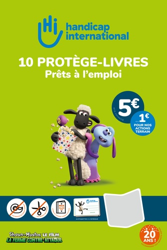 HANDICAP INTERNATIONAL - 10 couvre-livres + 10 étiquettes Handicap International
