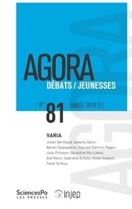 Yaëlle Amsellem-Mainguy - Agora Débats/Jeunesse N° 81/2019 (1) : Varia.