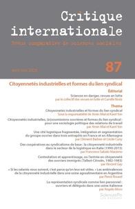 Sciences Po - Critique internationale N° 87 : .