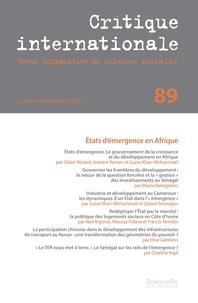 Sciences Po - Critique internationale N° 89 : .