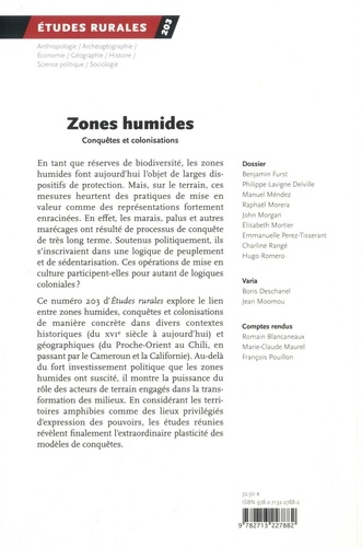 Etudes rurales N° 203, janvier-juin Zones humides. Conquêtes et colonisation