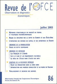 Edmond Malinvaud et Anton Brender - Revue de l'OFCE N° 86 Juillet 2003 : .