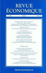 Bernard Baudry et Hervé Charmettant - Revue économique N° 59, Tome 2, Mars : .