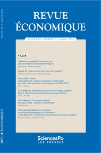 Sciences Po - Revue économique N° 69 tome 1 : Revue economique 69 t1.