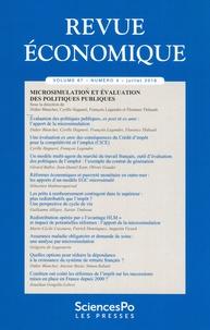 Didier Blanchet et Cyrille Hagneré - Revue économique Volume 67 N° 4, juil : Microsimulation et évaluation des politiques publiques.