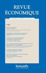 Revue - Revue économique Volume 69, N°2 : .