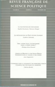 Sophie Duchesne et Florence Haegel - Revue française de science politique Volume 54 N° 6, Déce : .