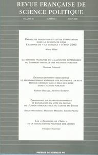 Bruno Cautrès et Marc Milet - Revue française de science politique Volume 55 N° 4, Août : .
