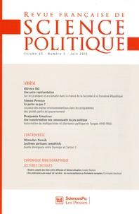 Olivier Ihl et Simon Persico - Revue française de science politique Volume 65 N° 3, Juin : .
