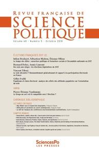 Revue - Revue française de science politique Volume 65, novembre  : Les élections législatives de 2017.