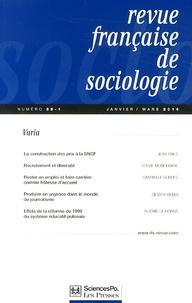 Jean Finez et Sylvie Monchatre - Revue française de sociologie N° 55-1, Janvier-mar : Varia.