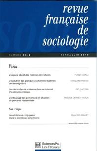 Yoann Demoli et Géraldine Farges - Revue française de sociologie N° 56-2, Avril-juin  : Varia.