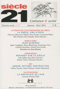 Constantin Bobas - Siècle 21 N° 17, Hiver 2010 : Littérature contemporaine de Grèce.