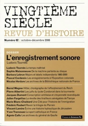Revue - Vingtième siècle N° 92 octobre-décemb : L'enregistrement sonore.