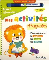 Hélène Convert - Mes activités effaçables Moyenne section - Pour apprendre le graphisme, les lettres, les chiffres. Avec un feutre.