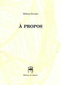 Hélène Gerster - A propos.