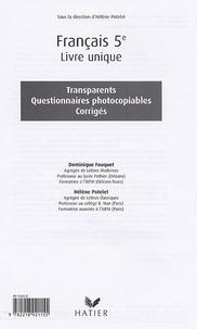 Français Livre Unique 5e - Transparents, Questionnaires photocopiables, Corrigés.pdf