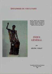 Hélène Verlet - Epitaphier du Vieux Paris - Index général.