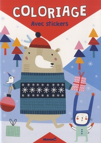 Hemma - Coloriage Noël Ours - Avec stickers.