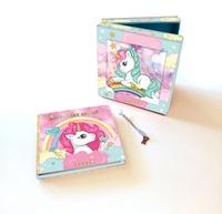 Hemma - Licorne, Mon coffret secret - Une jolie boîte avec miroir et un carnet d'amitié avec cadenas + 2 clefs.