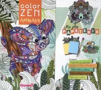 Hemma - Ma jolie papeterie animaux - Avec un bloc de coloriage, deux minis blocs, des stickers pailletés, une envelopper à secrets, un stylo pailleté.