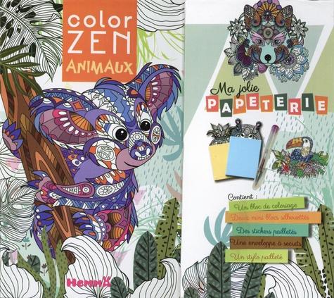 Ma jolie papeterie animaux. Avec un bloc de coloriage, deux minis blocs, des stickers pailletés, une envelopper à secrets, un stylo pailleté