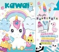 Hemma - Ma jolie papeterie kawaï - Avec un bloc de coloriage, deux mini blocs, des stickers pailletés, une enveloppe à secrets, un stylo pailleté.