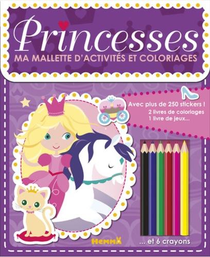 Coloriage Princesse Grand Format.Ma Mallette D Activites Et Coloriages Princesses Avec 2 Livres De Coloriage 1 Livre De Jeux 1 Livre De Stickers Et 6 Crayons Grand Format