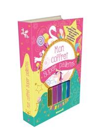 Hemma - Mon coffret super paillettes - Avec 5 tubes de paillettes colorées, 1 cahier créatif, 20 pages autocollantes et brillantes.