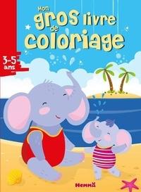Hemma - Mon gros livre de coloriage Eléphants plage.