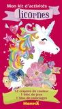 Hemma - Mon kit d'activités Licornes - 12 crayons de couleurs, 1 bloc de jeux, 1 bloc de coloriages.