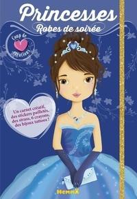 Hemma - Princesses, Robes de soirée - Contient : 1 carnet créatif, des stickers pailletés, des strass, 6 cayons, des bijoux tattoos.
